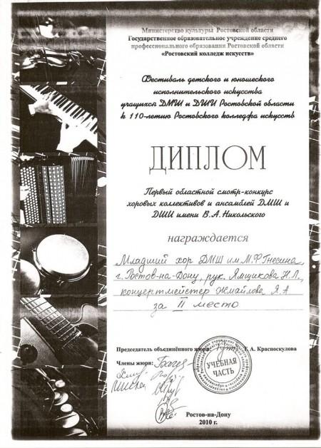 Диплом хора ДМШ им М,Ф, Гнесина Смотр-конкурс им. В,А