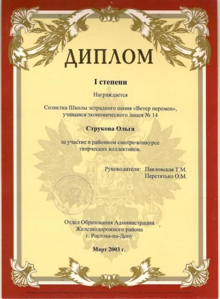 Ольга СтруковаОльга Струкова Диплом конкурса творческих коллективов