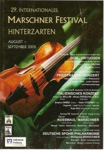 Буклет  фестиваля имени  Маршнера в  Фрайбурге и Хинтерцартене (Германия)