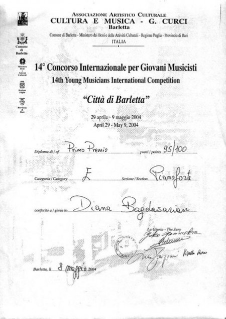 Диана Багдасарян. Лауреат XIV международного конкурса молодых исполнителей «Citta di Barletta» (1 премия, 2004г., Италия).