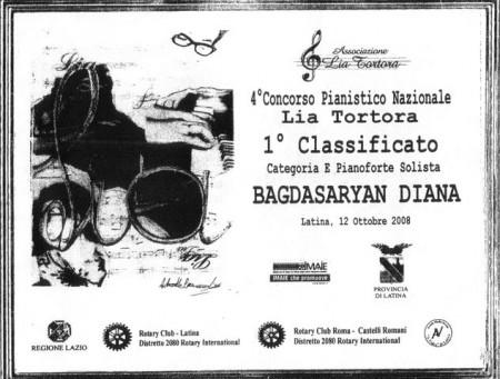 Диана Багдасарян. Дипломант международного конкурса « Современное искусство и образование», (2009г., Россия, Москва.)