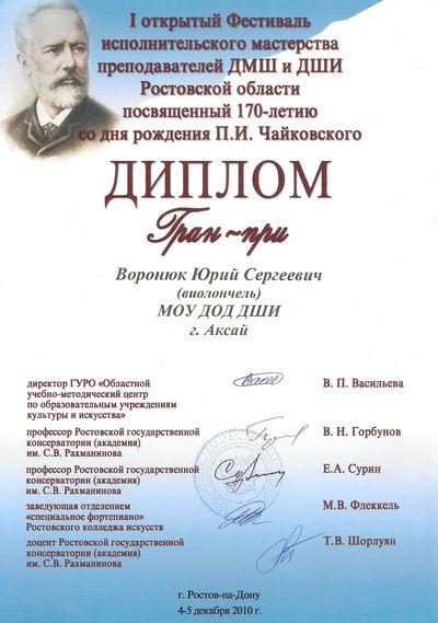 Юрий Воронюк. Диплом и статуэтка обладателя гран-при фестиваля.